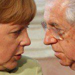 Mario Monti parla con Angela Merkel