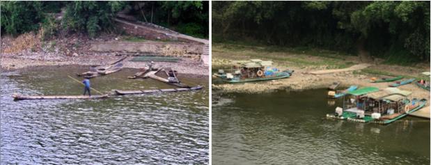 Le vecchie barche di bambù sul fiume Li, e le nuove di tubi di plastica